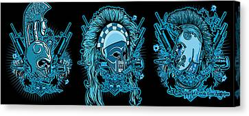 Dcla Skull Spartan Marine Molon Labe Compilation Canvas Print by David Cook Los Angeles