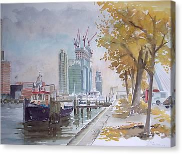 De Maas At Kop Van Zuid Canvas Print by Dick Carlier