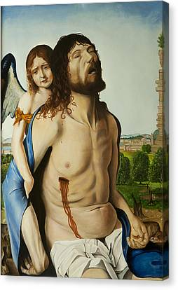 Dead Christ With An Angel After Antonello Da Messina Canvas Print by Massimo Tizzano