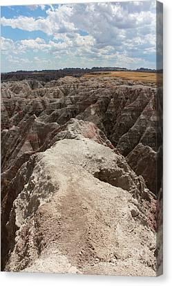 Dead End Trail In Badland National Park South Dakota Canvas Print by Adam Long