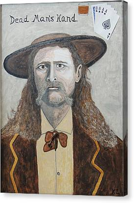 Canvas Print featuring the painting Dead Man's Hand.james Butler Hickok. by Ken Zabel