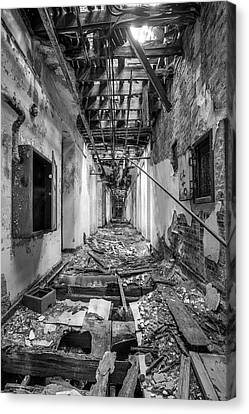 Deadly Corridor - Abandoned Asylum Building Canvas Print by Gary Heller