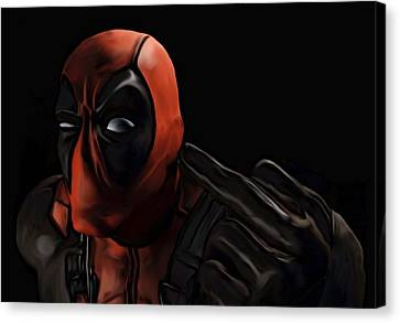 Canvas Print featuring the painting Deadpool by Jeff DOttavio
