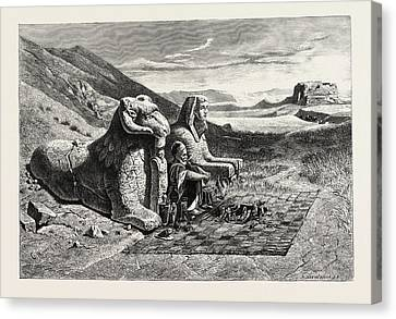 Antiquities Canvas Print - Dealer In Antiquities On The Road From Luxor To Karnak by Litz Collection