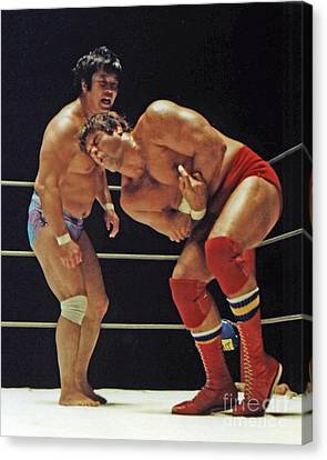 Dean Ho Vs Don Muraco In Old School Wrestling From The Cow Palace Canvas Print by Jim Fitzpatrick