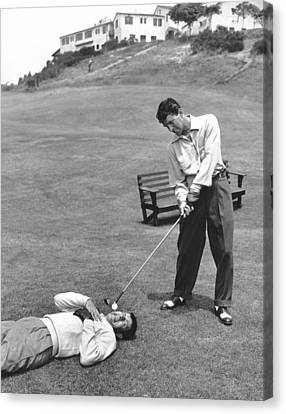 Performers Canvas Print - Dean Martin & Jerry Lewis Golf by Underwood Archives
