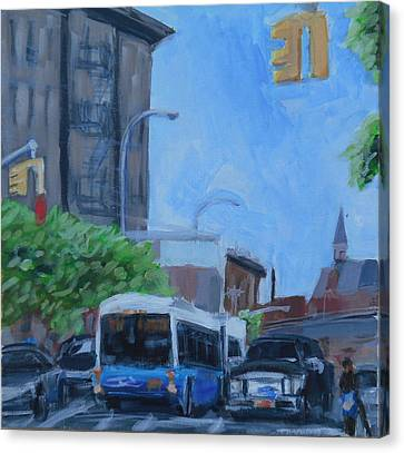 Canvas Print featuring the painting Dean St And Nostrand Ave by Tu-Kwon Thomas