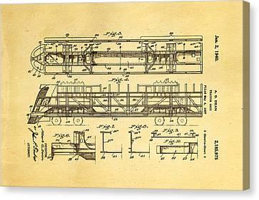 Dean Train Tractor Unit 2 Patent Art 1940 Canvas Print
