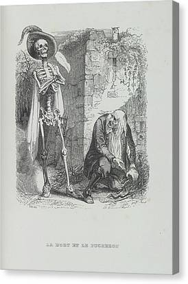 Death And Lumberjack Canvas Print by British Library