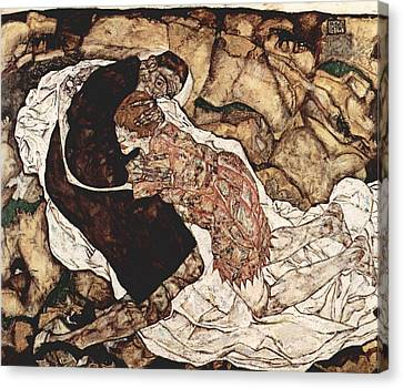 Death And The Maiden Canvas Print by Egon Schiele