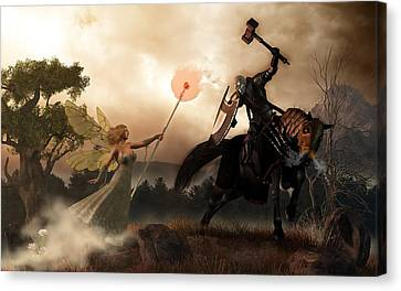 Death Knight And Fairy Queen Canvas Print by Daniel Eskridge