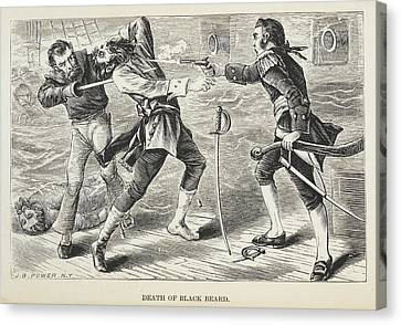 Death Of Black Beard Canvas Print by British Library