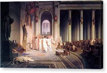 Death Of Caesar Canvas Print by Jean Leon Gerome