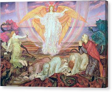 Death Of The Dragon Canvas Print by Evelyn De Morgan