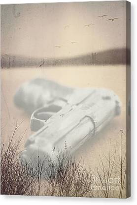 Death On Solid Water Canvas Print by Edward Fielding