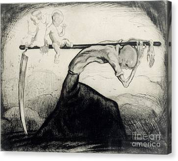 Grim Reaper Canvas Print - Death With Two Children Carried On His Scythe by Michel Fingesten