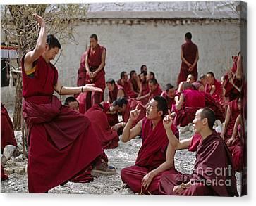 Debating Monks - Sera Monastery Lhasa Canvas Print by Craig Lovell