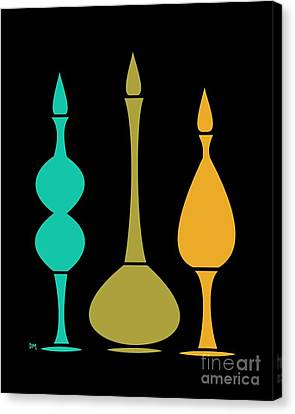 Decanters On Black 3 Canvas Print by Donna Mibus