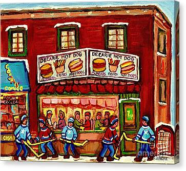 Decarie Hot Dog Restaurant Cosmix Comic Store Montreal Paintings Hockey Art Winter Scenes C Spandau Canvas Print by Carole Spandau
