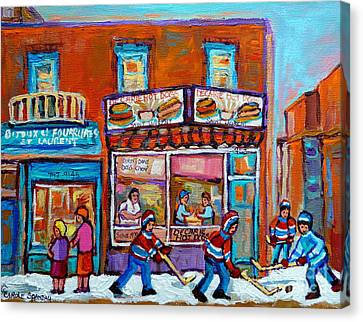 Decarie Hot Dog Restaurant Ville St. Laurent Montreal  Canvas Print by Carole Spandau