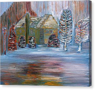 Canvas Print featuring the painting December In Highland New York by Vadim Levin