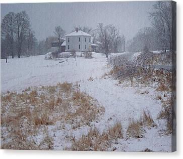 Maine Farmhouse Canvas Print - December by Joy Nichols