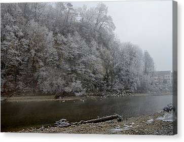 Canvas Print featuring the photograph December Morning On The River by Felicia Tica