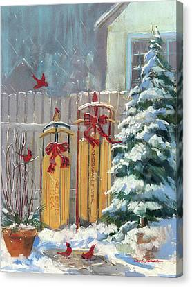 December Sleds Canvas Print by Carol Rowan