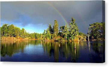 Decembers Double Rainbow Canvas Print by Kristal Talbot