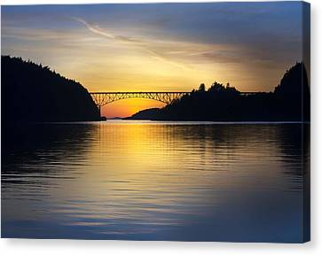 Canvas Print featuring the photograph Deception Pass Bridge by Sonya Lang
