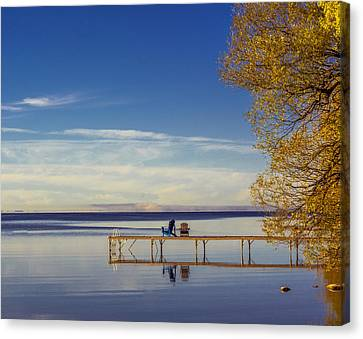 Deck Chairs On A Dock Canvas Print