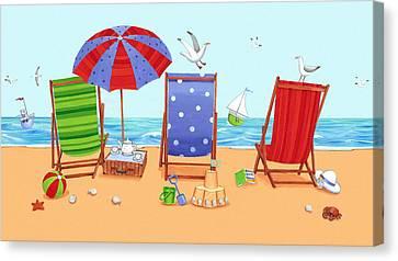 Deckchairs Canvas Print by Peter Adderley