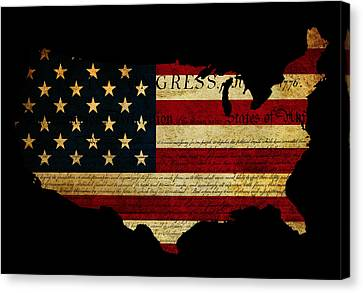 Declaration Of Independence Grunge America Map Flag Canvas Print by Matthew Gibson