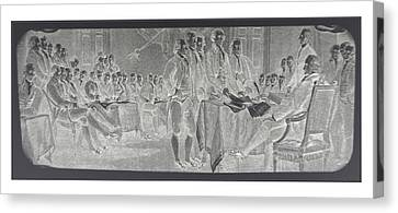 Declaration Of Independence In Negative Canvas Print by Rob Hans