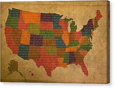 Declaration Of Independence Word Map Of The United States Of America Canvas Print by Design Turnpike