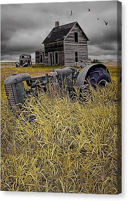 Decline Of The Small Farm No 2 Canvas Print by Randall Nyhof
