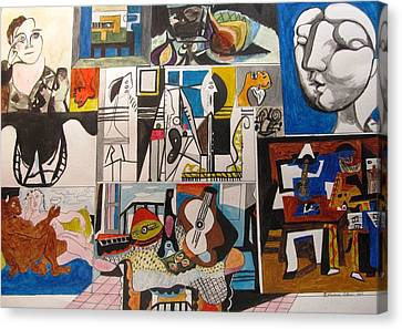 Deconstructing Picasso - Women And Musicians Canvas Print by Esther Newman-Cohen