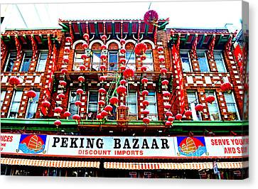 Decorated Building In Chinatown In San Francisco Canvas Print by Jim Fitzpatrick