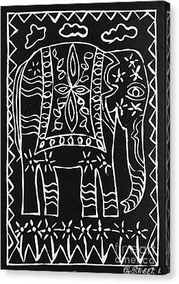 Decorated Elephant Canvas Print by Caroline Street