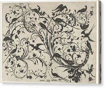 Decoration With Flowers And Birds, Anonymous Canvas Print by Anonymous