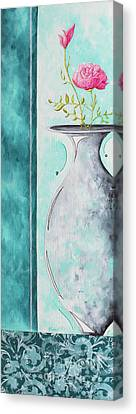 Decorative Floral Vase Painting Shabby Chic Style Relax And Unwind I By Madart Studios Canvas Print by Megan Duncanson