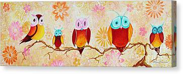 Decorative Whimsical Owl Owls Chi Omega Painting By Megan Duncanson Canvas Print by Megan Duncanson