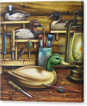 Waterfowl Canvas Print - Decoy Carving Table by JQ Licensing