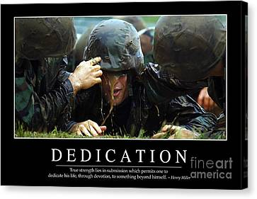 Dedication Inspirational Quote Canvas Print by Stocktrek Images