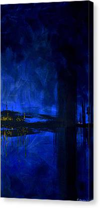 Deep Blue Triptych 3 Of 3 Canvas Print by Charles Harden