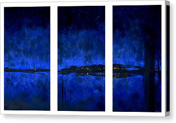 Deep Blue Triptych Canvas Print by Charles Harden