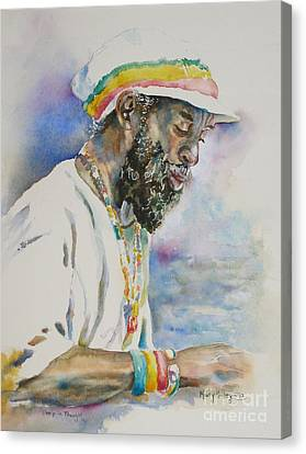 Canvas Print featuring the painting Deep In Thought by Mary Haley-Rocks