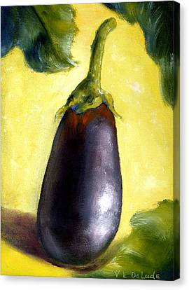 Deep Purple Eggplant Still Life Canvas Print by Lenora  De Lude