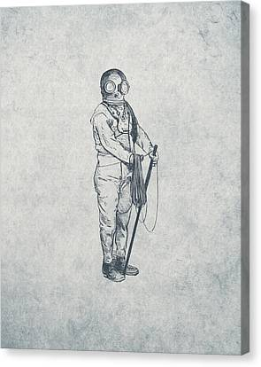 Deep Sea Diver - Nautical Design Canvas Print by World Art Prints And Designs
