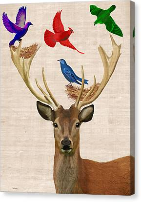 Deer And Birds Nests Canvas Print
